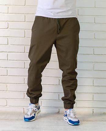 Хлопковые летние брюки джоггеры оливкового цвета, фото 2