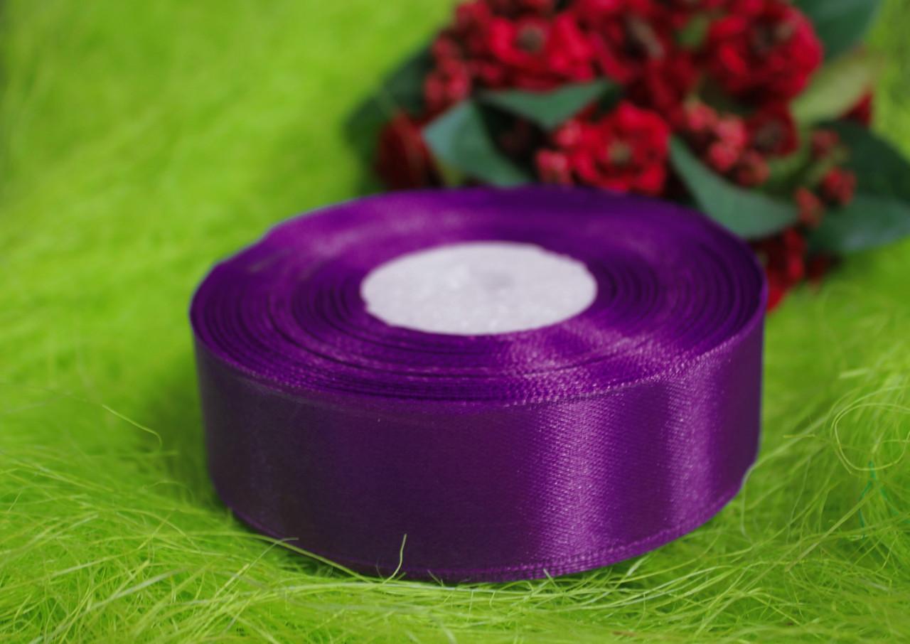 Лента атласная фиолетовая 25 мм, моток 33 м.