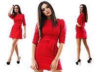 Платье трикотажное рыфленое в 3D