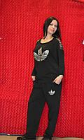 Чёрный женский спортивный костюм реглан