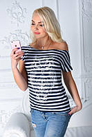 Женская полосатая футболка вырез лодочка
