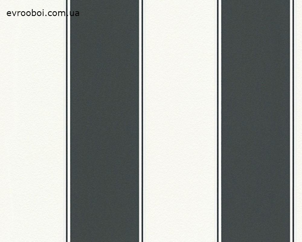 Обои в черно-белую широкую полоску 305497.