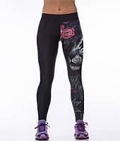 Стильные легинсы для йоги с принтом 3Д Лев в цветах черные