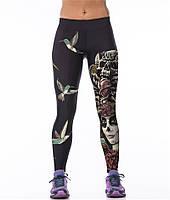 Красивые женские легинсы для спорта с рисунком 3д Женский череп и колибри черные