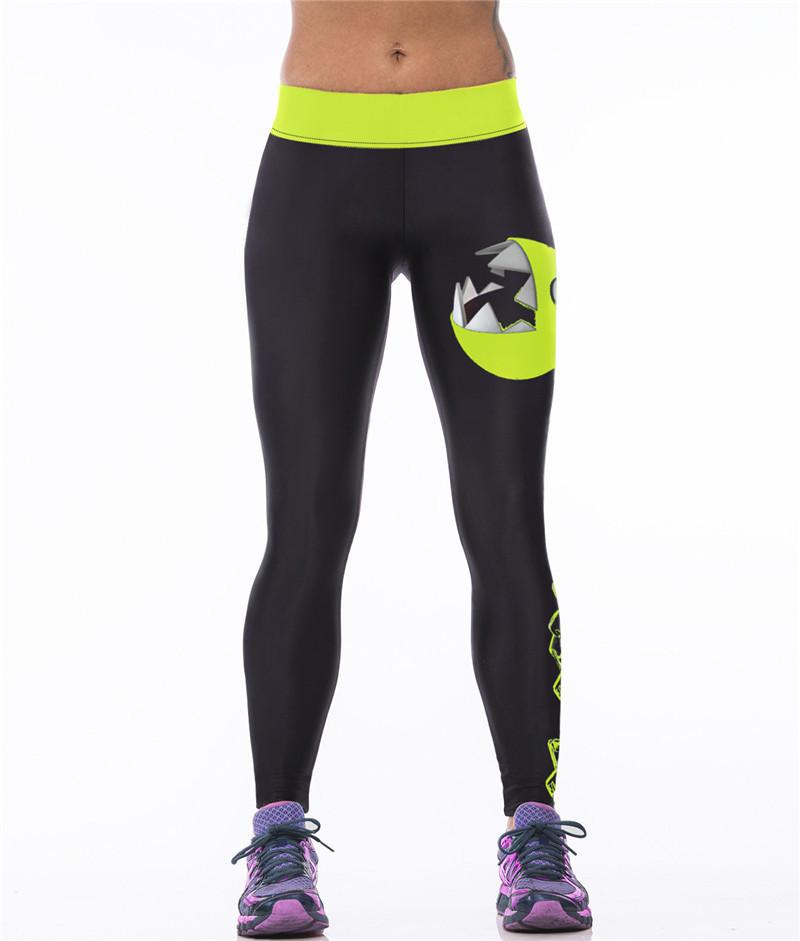 Яркие женские леггинсы для занятий спортом с рисунком 3D Зеленый головастик черные