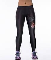 Стильные женские легинсы с принтом 3д для фитнеса Рычащая пантера черные