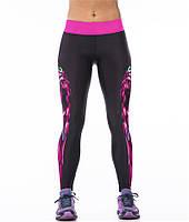 Модные спортивные лосины с рисунком 3Д для девушек Малиновая сова черные