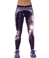 Яркие леггинсы для занятий спортом женские с принтом 3D Северное сияние черные