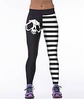 Прикольные женские легинсы для спортзала с 3Д рисунком полосатые с черепом черные