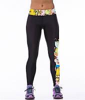 Модные лосины для занятий спортом с 3d рисунком Комиксы черные