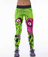 Модные спортивные леггинсы с принтом 3Д для девушек Монстр салатовые