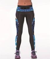 Модные спортивные леггинсы с рисунком для девушек Голубое северное сияние черные