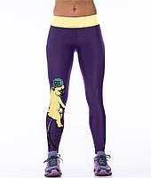 Стильные женские легинсы для спорта с принтом 3D Мопс на велосипеде фиолетовые