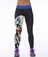 Яркие спортивные лосины с рисунком для женщин Клоун с сигарой черные