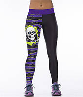 Модные женские легинсы для фитнеса полосатые с черепом черные с фиолетовым