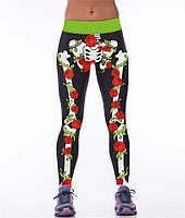 Прикольные женские легинсы для спортзала с рисунком 3D Скелет в цветах черные