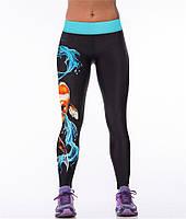 Модные спортивные лосины для женщин с принтом 3D Карпы черные