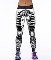 Стильные спортивные легинсы для девушек с принтом 3Д Скелет Фараона черные