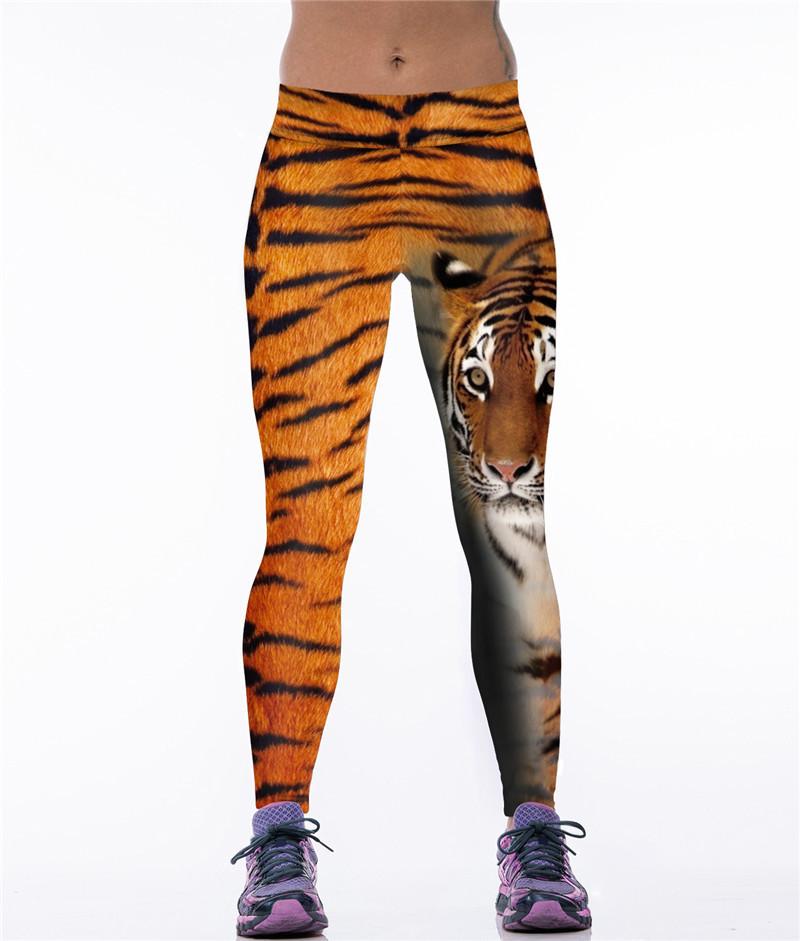 Яркие женские леггинсы для спорта с рисунком 3Д Тигр рыжий