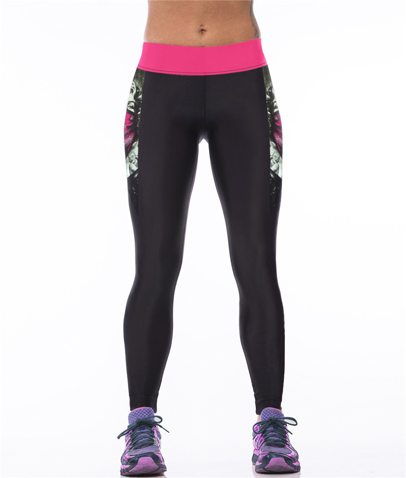 Яркие женские легинсы для фитнеса с рисунком 3Д Мерлин Монро черные