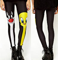 Милые спортивные леггинсы для женщин с рисунком 3Д Looney Tunes черные