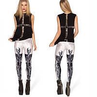 Стильные женские леггинсы для спорта с рисунком 3Д Черные скелеты белые