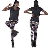 Яркие женские легинсы для спорта с принтом в Горошек мультиколор черные