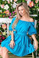 """Платье-фонарик """"Крестьянка"""" с открытой спиной на завязке 6052 (ВИВ)"""