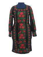 Вязаное платье Розы красные (черное х/б)