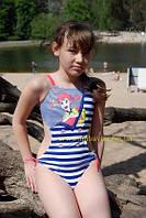 совместный детский или подростковый купальник с открытой спиной