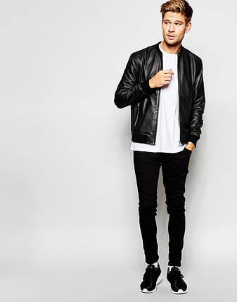 Классическая мужская черная куртка бомбер из эко-кожи, фото 2