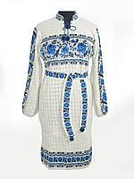 Вязаное платье Роза с бутоном синяя