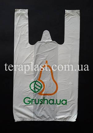 Пакет майка с логотипом 440+(100х2)800,35 мкм Печать 1 цвет, фото 2