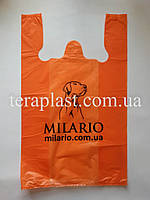 Пакет майка с логотипом 340+(80х2)600, 25 мкм Печать цвет