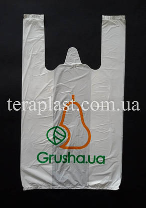 Пакет майка с логотипом 340+(80х2)600, 20 мкм Печать цвет, фото 2