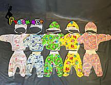 Комплект для новорожденного кулир (распашонка+ползунки+шапочка) 56-62 р-р, цвет на выбор