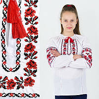 Вышитая рубашка для девочки Ожерелье с красной вышивкой