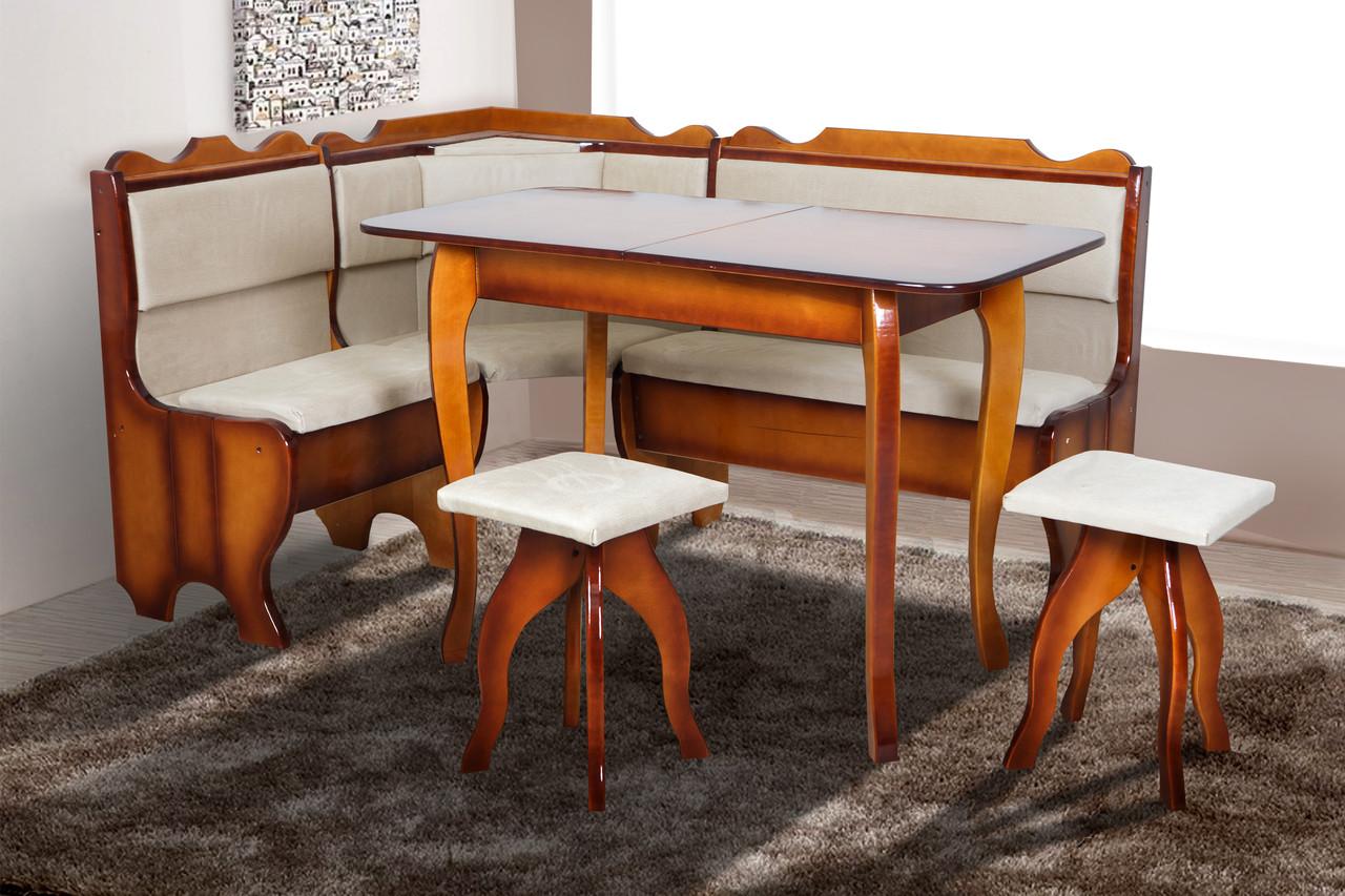 Мягкий кухонный комплект Ромео 155*115см Уголок, стол, 2-табуретки