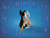 Часы настенные Коты в186, 30х40 для кухни, гостиной, детской, спальни. Подарок