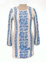 Вязаное платье Розы голубые с бутоном