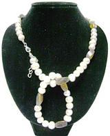 Жемчужное ожерелье с браслетом, вставка тигровый глаз