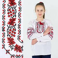 Вышитая блузка для девочки Дубок с вышивкой красного цвета