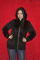 Вязаная женская куртка с отделкой норки