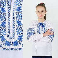 Вышитая блузка для девочки Дубок с вышивкой синего цвета