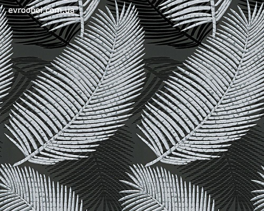Обои с узором - листья, перья на черном фоне 985782.