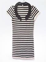 Вязаное платье на лето Черная полоска с воротником