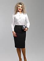 Классическая черная юбка с вышивкой по низу, батал