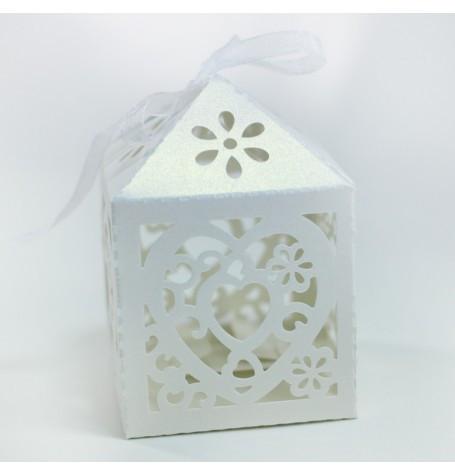 "Бонбоньерки,коробочка упак. ""сердце""(белый)(код 02837)"