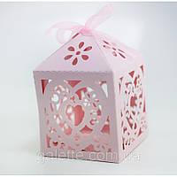 """Бонбоньерки,коробочка упак. """"сердце""""(розовый)(код 02835)"""