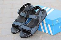 Мужские босоножки Adidas, нубук, серо голубые /  летние сандалии мужские Адидас, модные